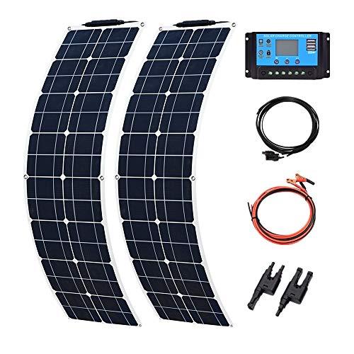 YUANFENGPOWER 100W 12V Solarpanel Kit 2pcs 50w 16v flexible Solarmodule 10A Solarregler für Boot, Auto, Caravan, Wohnmobil, Batterieladegerät (100W)