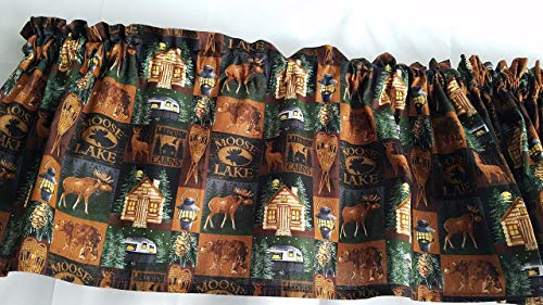 Rustic Valance, Moose Lake Cabin Valance Curtains, Rustic Cabin Valance Curtains, Farmhouse Curtains, Outdoorsy Themed Curtains, Cabin Curtain (41-42 Inches Wide x 15 Inches Long)