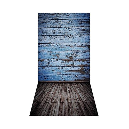 Andoer 1,5 x 3 m / 4,9 x 9,8 ft achtergrond groot video Studio foto digitaal gedrukt blauw klassiek muur houten vloer patroon voor tieners volwassenen kinderen portretfotografie, L7