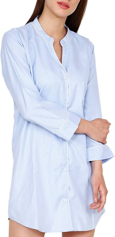 Amore Beaute Handcrafted Sky bluee Cotton Nightdress Loungewear For Women