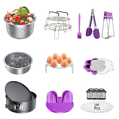 Instant Pot Accessories Set, Pressure Cooker 17 Pieces Kit Compatible with 5/6/8Qt Steamer Baskets Springform Egg Rack Oven Mitts Brush Tongs Silicone Mold Dish Plate Clip Magnetic Cheat Sheet