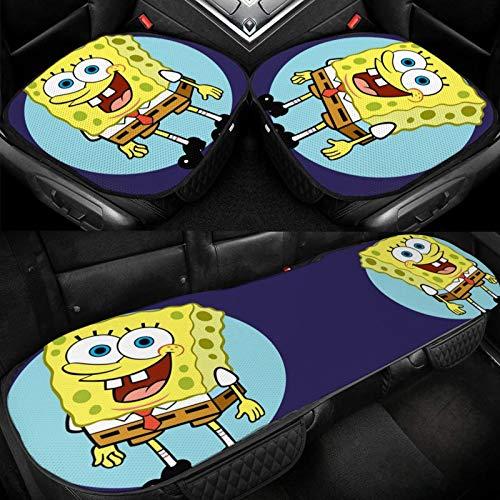 Spongebob Squarepants On A Blue Circle Seat 3 Pcs Covers Color Printing Ice Silk Car Seat Cushion Car Breathable Cool Seat Cushion