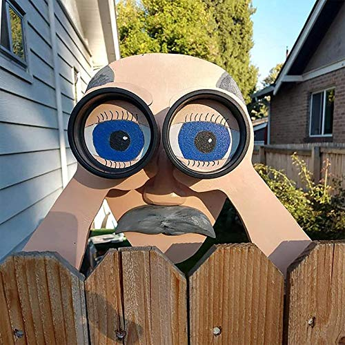 Nosy Old Man And Lady Yard Sign - Fence Outdoor Hanging Decoration - Cute Lifelike Peeking Neighbor Sculpture, Yard Art Garden Outside Decor Gift 11 Inch (Size : Cute Man)
