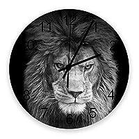 掛け時計 ライオン 壁掛け時計 掛時計 静音 clock サイレント 壁時計 部屋 リビング 玄関 インテリア コンパクトサイズ 電池式 木掛け鐘 大数字 円形 贈り物 直径 30cm