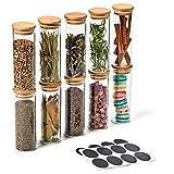 EZOWare 10 Pcs Tarros de Vidrio, Frascos con Tapa Hermética de Madera Bambú y Etiquetas para Almacenaje y Conservar Alimentos, Especias, Uso en Cocina, Baño, Decorativo - 300ml