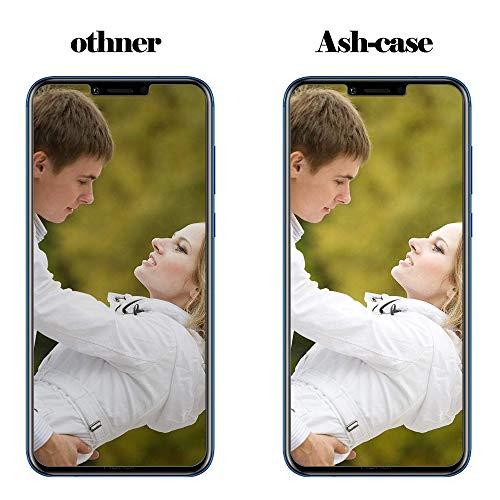 Ash-case [2 Stück] Panzerglas Schutzfolie für Huawei Honor Play, Anti- Kratzer, Bläschenfrei, 9H Härte, HD-Klar, 3D Runde Kante, Transparent+1xNano Explosion - Proof Membrane - 5