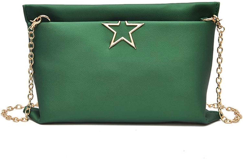 FUWUX Bag Matte Farbe Farbe Farbe Metall Stern Schulter Kette Crossbody Große Kapazität Handtasche Umschlag Tasche (Grün) B07M8D4HJ4  Kostengünstig 258463