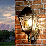 Große Außenleuchte mit Bewegungsmelder H:35cm Gold Antik Glas E27 Gartenlampe Wand Haus Balkon Terrasse