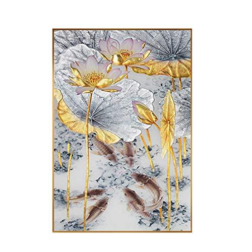 Póster moderno estilo chino abstracto dorado loto carpa lienzo pintura para decoración de sala de estar cuadros de arte de pared 60X80cm Sin marco
