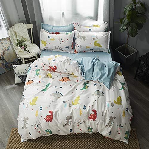 Kids Dinosaur Duvet Cover Single Children Cute Cartoon Dino Tree Bedding Set For Boys Girls Room Decor Twinkle Stars Jungle Animals Comforter Cover Reversible Soft Stripe White Blue Quilt Cover