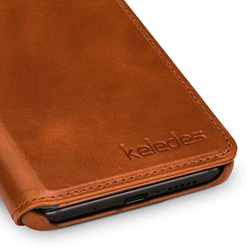 keledes kompatibel mit Huawei Mate 10 Hülle aus Echtem Leder,Brieftasche Flip Case mit Karten-Fächern, Cognac Braun - 6