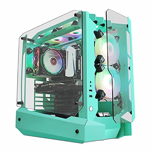 Caja de computadora Full Tower Desktop Caja de Juegos refrigerada por Agua Panel Lateral de Vidrio Templado, Ventilador de 120 mm, Listo para refrigeración por Agua, Caja de PC Usb3.0