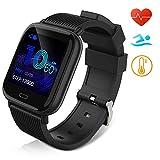 Huyeta Smartwatch Orologio Fitness Uomo Donna Pressione sanguigna Impermeabile IP67 Smart Watch Cardiofrequenzimetro da Polso Contapassi Smartband Activity Tracker Bambini Cronometro (Nero)