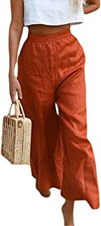 Mogogo Womens Holiday Tenths Pants Beach Casual Solid Palazzo Lounge Pant