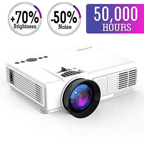 """Mini Projector,2018 Upgraded LED Video Projector +70% Brighter,176"""" Display Portable Home Theater Projector Support 1080P Compatible with HDMI VGA AV USB TF Xbox Amazon Fire TV Stick"""