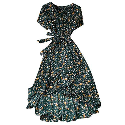 Damen Swing Kleid Irregular Partykleid Reizvolle Cocktailkleid Kurzarm Abendkleid Elecenty Casual Taillenkleid V-Ausschnit Maxikleid Bedruckt Sommerkleid Hochzeitskleid