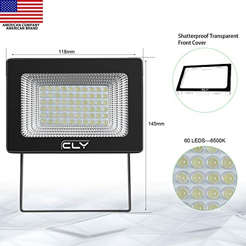 CLY 60 LED Solar Lights, Outdoor Security Floodlight, 300 Lumen, IP66 Waterproof, Auto-induction, Solar Flood Light for Lawn, Garden