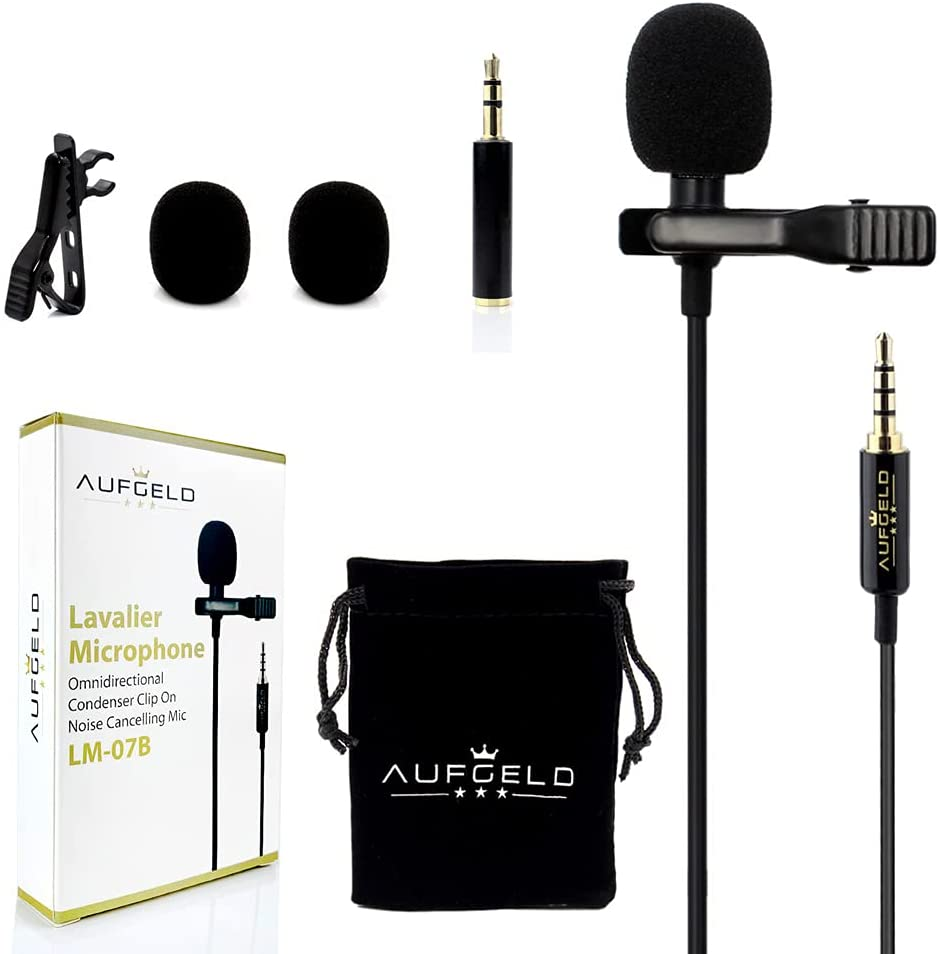 Professional Best Small Mini Lavalier Lapel Omnidirectional Condenser Microphone for Apple iPhone Android Windows Cellphones Clip On Interview Video Voice Podcast Noise Cancelling Mic Blogger Vlogger