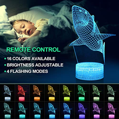 Product Image 7: Shark 3D Optical Illusion Lamp, 3D Night Light for Kids, Shark Toys for Boys, Gifts Boys Age 10 4 7 11 9 8 6