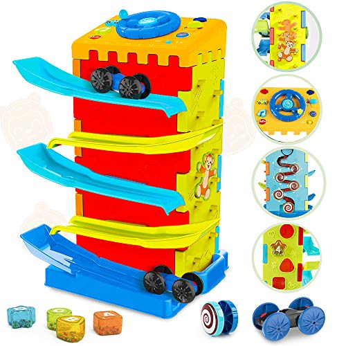 VATOS 5-in-1 Activity Cube toys, Race Car Ramp Track,Toddler Toys, Montessori Stem Educational Cars Toys for 1 2 3 Years Old Boy and Girl, Great Gift as Toddler Boy Toys