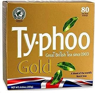 TYPHOO TEA, TEA, GOLD, Pack of 6, Size 80 BAG - No Artificial Ingredients