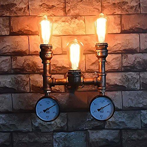 5151BuyWorld Retro Style Loft mur industriel lampe Conduite d'eau en fer forgé Lumières Vintage Accueil nuit Sconce Éclairage d'intérieur [Noir]