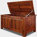 Deuba Baúl de madera maciza de acacia arcón de interior mueble 85x44x48cm con tapa banco cofre de almacenaje con 2 asas