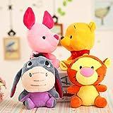 yqs Stuffed toy 4pcs/ Winnie The Pooh 10cm Stuffed Animals Plush Dolls Toys With Keychain Pendant Cute Anime Cartoon Doll For Children Gift