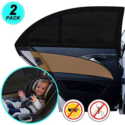 WIN.MAX Sonnenschutz Auto,Sonnenschutz Auto Baby mit Zertifiziertem UV Schutz,Universal Sonnenblende Auto Netz,für Seitenfenster Meshmaterial Schützt Mitfahrer, Baby, Kinder & Haustiere, 2 Stück