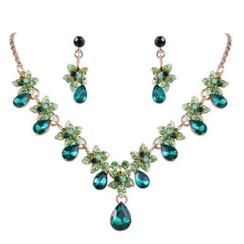 EVER FAITH Set Gioielli Donna, Cristallo Austriaco Ibisco Fiore Goccia Collana Orecchini Set Verde Oro-Fondo