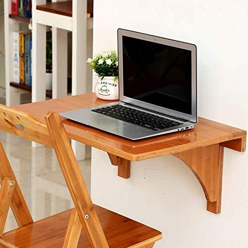 Mesa plegable de bambú montada en la pared Mesa de hojas abatibles montada en la pared 60 Escritorio flotante plegable para computadora portátil de 40 cm para lavandería / bar familiar / sin silla reg