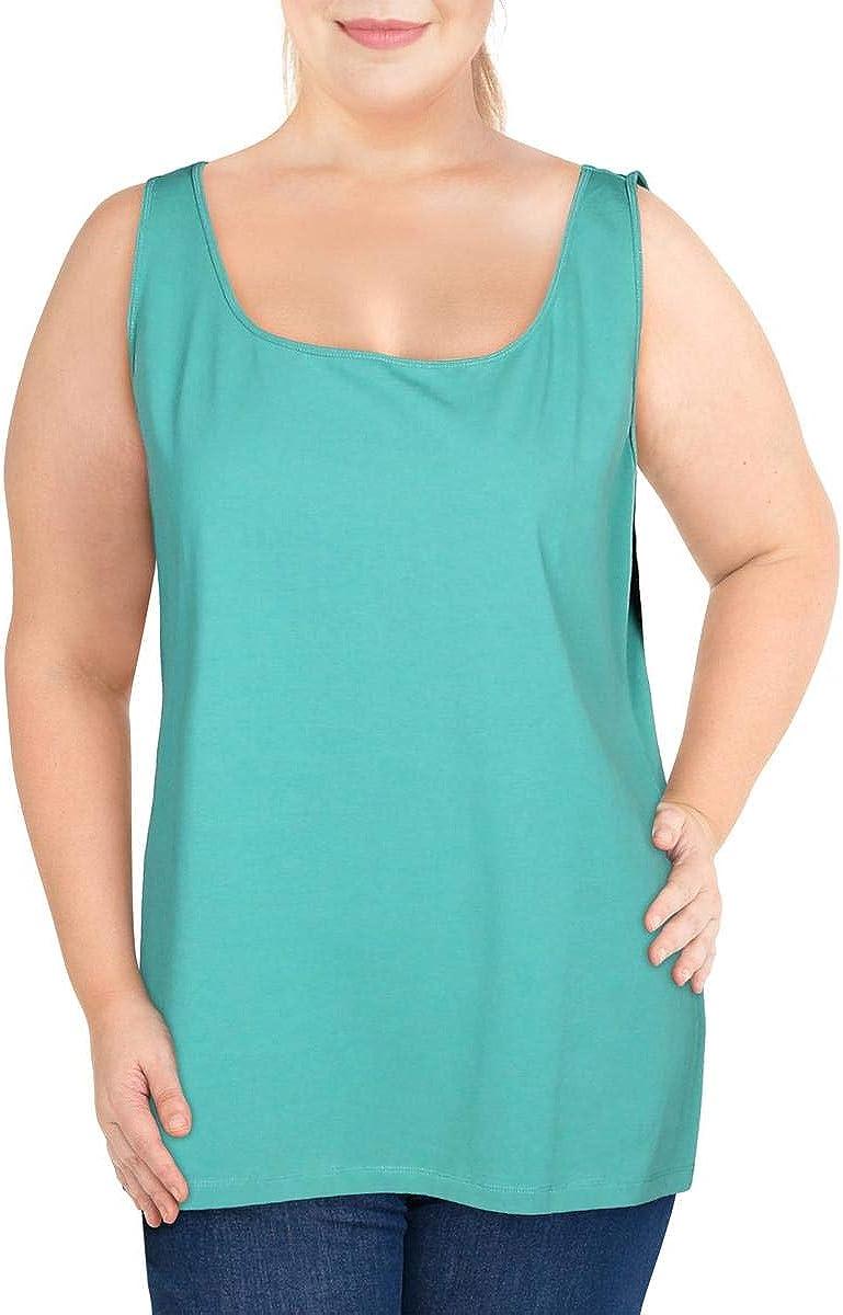 NIC+ZOE Womens Plus Perfect Cotton Stretch Scoop Neck Tank Top