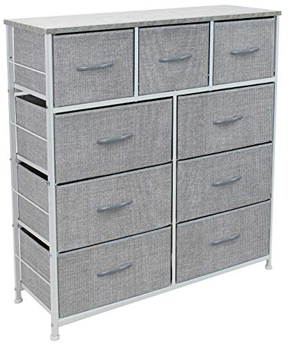 Sorbus Dresser with 9 Drawers - Furniture Storage Chest Tower Unit for Bedroom, Hallway, Closet, Office Organization - Steel Frame, Wood Top, Easy Pull Fabric Bins (Gray) - 9-DRAWER DRESSER (GRAY) — Style meets function with our dresser chest, complete with a wood surface and storage drawers — Pairs beautifully with the Sorbus Foldable Furniture Collection DISPLAY & DE-CLUTTER — Wood top provides hard surface for displaying lamps, alarm clocks, books, eyeglasses, charging station, and more — Drawers great for storing clothes, blankets, linens, baby clothes, lingerie, purses, scarves, socks, accessories, gadgets, toiletries, cosmetics, hair/beauty products, paperwork, toys, knitting supplies, and household clutter FOR HOME, OFFICE, DORM — Suitable for bedroom, living room dresser, guest room, closet, nursery, hallway, college dorm, small apartment solutions, etc — Can be used as dressers for bedroom, storage cube dresser, 5 drawer dresser, small closet dresser, storage chest, living room dresser, sofa end tables, office supply storage, kids nightstand, or baby nursery table — Complements most décor whether traditional, rustic, or modern - dressers-bedroom-furniture, bedroom-furniture, bedroom - 519NM1pRdtL -