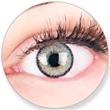 Glamlens Kontaktlinsen farbig grau ohne und mit Stärke - mit Kontaktlinsenbehälter. Sehr stark deckende natürliche graue farbige Monatslinsen Silbergrau 1 Paar weich Silikon Hydrogel -2.5 Dioptrien
