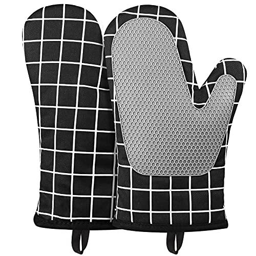 Micacorn Ofenhandschuhe, Hitzebeständige Topfhandschuhe Silikon und Baumwolle, Silikon Anti-Rutsch Design, Geeignet für Kochen, Backen, Grillen(Black)