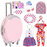 liberry 18 Inch Dolls Accessories Travel Set – Girls Doll Accessories Play Set with Luggage Case, Clothes, Backpack, Pillow, Sunglasses, Camera, Fit for America 18 Inch Girl Dolls