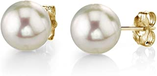 THE PEARL SOURCE 18K Gold Round White Akoya Cultured Pearl Stud Earrings for Women