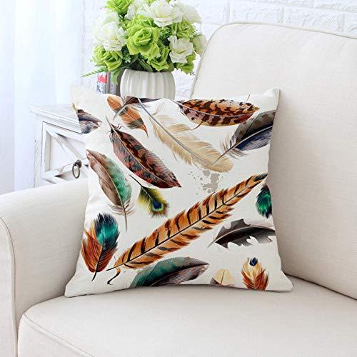 Coloridas plumas de pavo real funda de cojín moda moderna nórdica poliéster sarga funda de almohada sofá silla cojines decorativos 45 × 45 cm-13