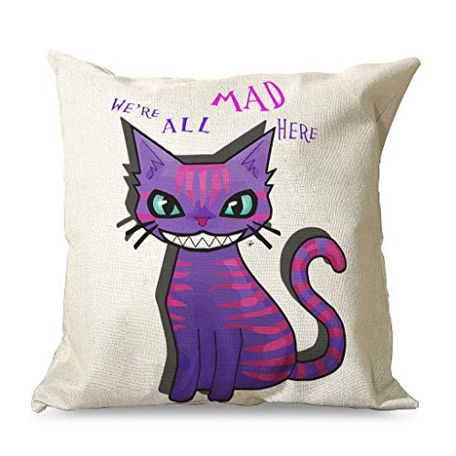 CATNEZA Linen Cushion Case Good Touch Cushion Cover We All Mad Pattern Printed - Comics Movie Couch Cushion Cover for Chair Cart Decorations White 2 45 x 45 cm