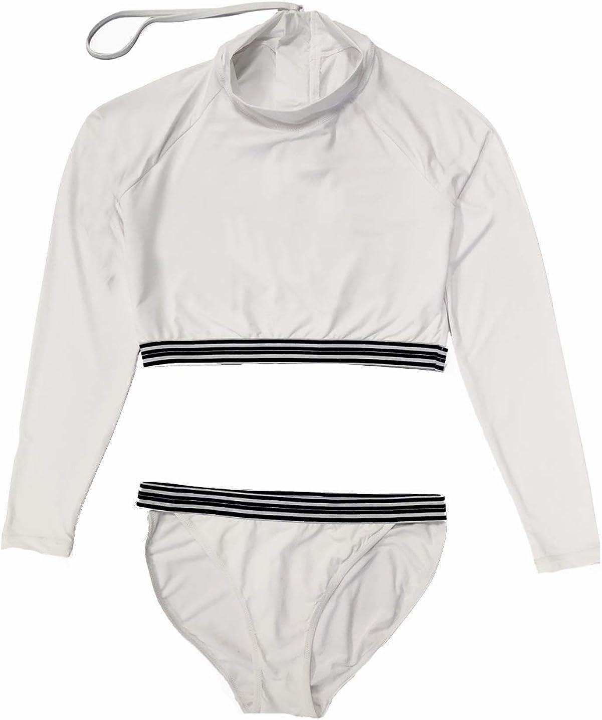 Women's Two Piece UPF 50+ Zip Surfing Rash Guard Sexy Bikini Long Sleeve Swimsuit Set