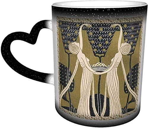 MENYUAN Tazas de café Art Nouveau mujeres sensibles al calor color cambiante taza en el cielo taza de cerámica regalos personalizados para los amantes de la familia amigos