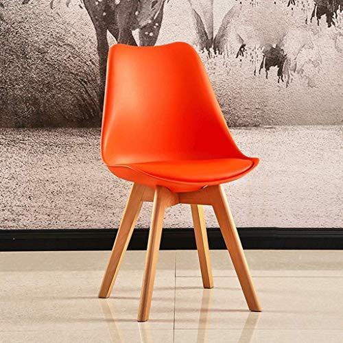 HYZXK Tulip Chair Plástico Madera Retro Sillas de Comedor Blanco Negro Gris Rojo Amarillo Verde Azul Naranja (Color: Naranja)
