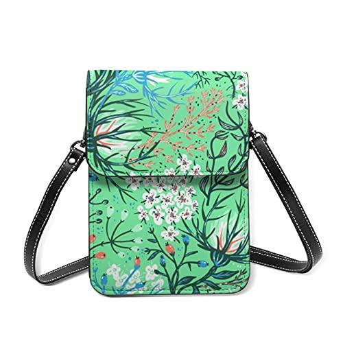 Mini bolso del teléfono para las mujeres monedero bolso de viaje floral con cinturón ajustable, 88 Floral Exotic, Talla única