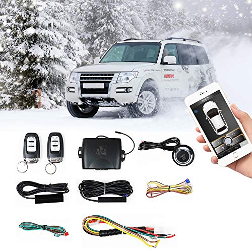Car Remote Start PKE Passive Keyless Entry One Key Engine Start for Car with Shock Sensor Car Alarm System Remote Key or Phone Control