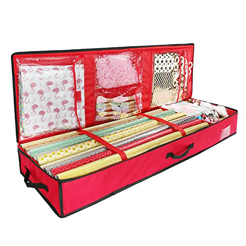 Fangze 14x40 Inch Gift Wrapping Paper Storage Container,Underbed Gift Wrap Organizer (Red)