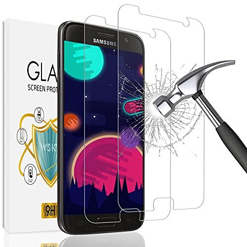 wsky [2 Stück] Panzerglas Schutzfolie für Samsung Galaxy S7, HD Displayschutz, Gehärtetem Glas, 9H Härte, Ultra-Klar, Anti-Bläschen, Blasenfreie, Schutzfolie für Samsung S7 (Transparent)