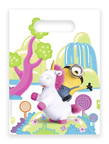 Neu: 6 Party-Tüten * Fluffy * für einen Kindergeburtstag | Minions Ich einfach unverbesserlich Einhorn Mottoparty Motto Kinder Geburtstag Rosa Mitgebsel