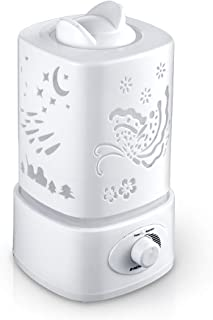 U-DRIVE 1.5 L Bedroom Humidifier, Whisper Quiet and Auto Shut Off Cool Mist Humidifier with 3 Variable Night Lights for Kid Baby Children Home Office