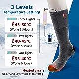 CAVEEN Beheizbare Socken für Damen und Herren, Beheizte Socken mit Akku Baumwolle Heizsocken Beidseitige Beheizung 3 Gänge Fußwärmer Erwärmbare Socken für Zuhause Outdoor Sports(L) - 6