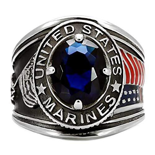 BOBIJOO JEWELRY - Anillo Anillo Anillo de Hombre Militar de Marina de Estados Unidos Iwo Jima 316L de Acero de Plata-Tono de la Piedra Azul - 29 (13 US), Acero Inoxidable 316